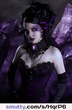 I Lust For Purple Things........ Corset Purple Gloves Choker ...Great Hair.. Sexxxy.... Tele
